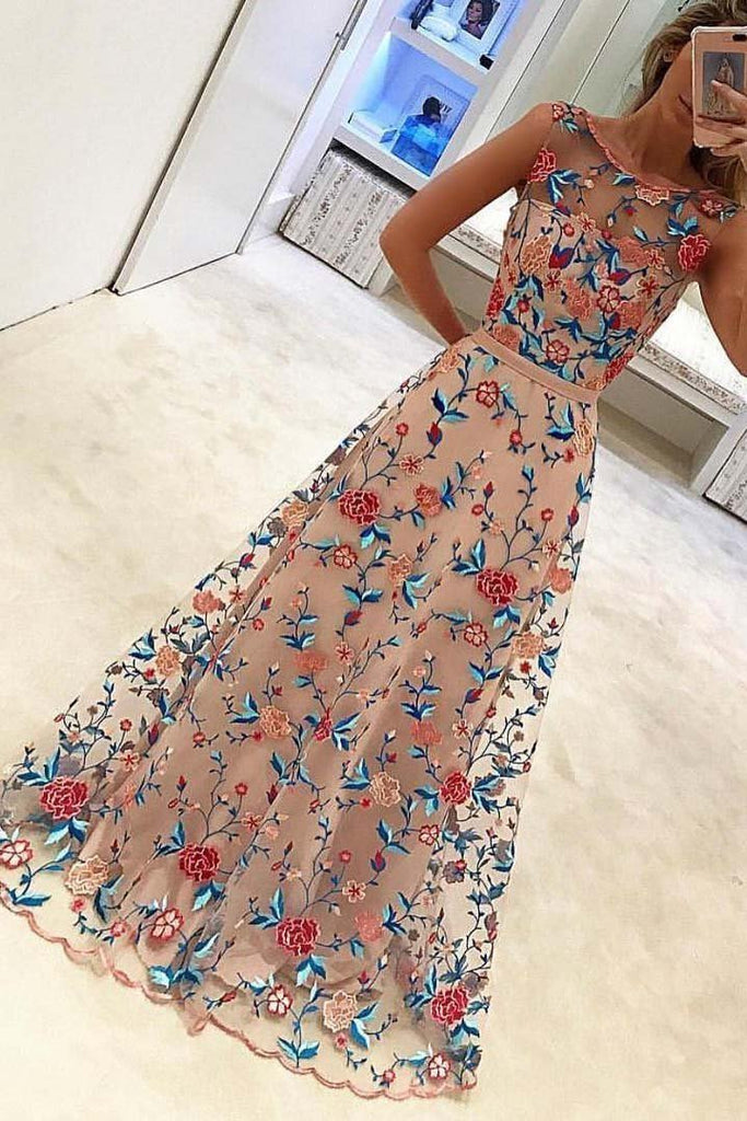 A Line Floral Scoop Sleeveless Prom Dresses with Embroidery, Long Formal Dresses UK PW466