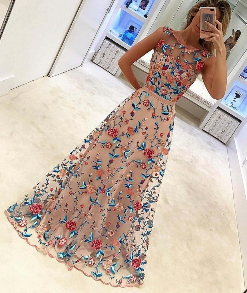 A Line Floral Scoop Sleeveless Prom Dresses with Embroidery Long Formal Dresses UK JS466