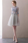 A Line Half Sleeve Lace Short Prom Dresses High Neck Tulle Homecoming Dresses JS819