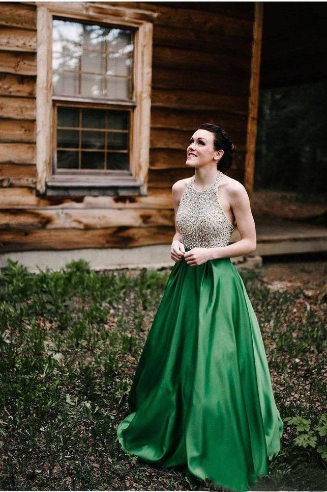 A Line Halter Emerald Green Beaded Prom Dresses Backless Satin Long Prom Dresses JS825