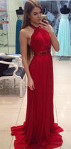 A Line Halter Red Chiffon Long Prom Dresses with Beading Cheap Evening Dresses JS702