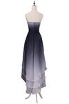 A Line High Low Sweetheart Ombre Homecoming Dresses Strapless Ruffles Prom Dress JS852