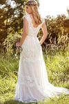 A Line Lace Straps Wedding Dresses Ivory Backless Long Bridal Dresses JS817
