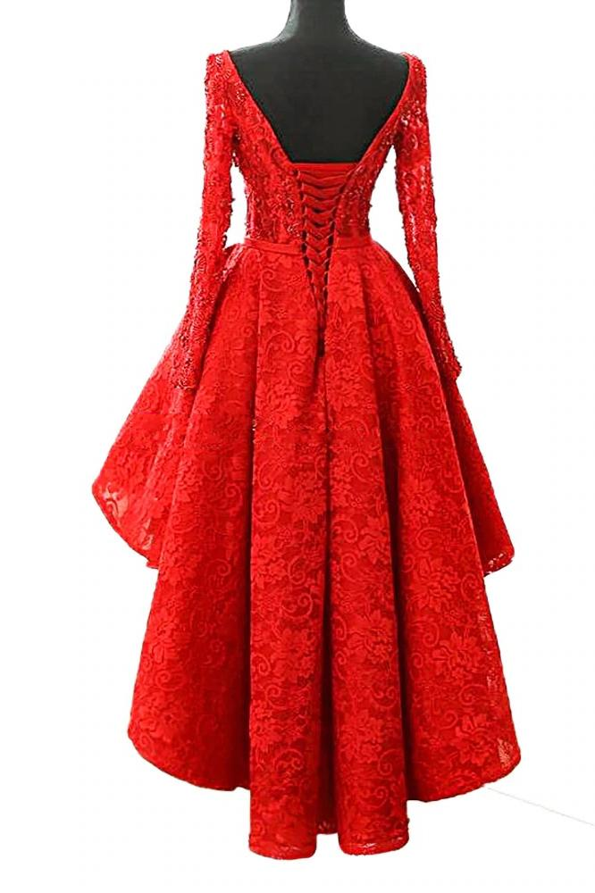 A Line Long Sleeve Red High Low Scoop Lace Homecoming Dresses with Lace Appliques JS835