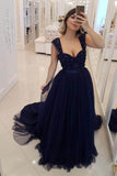 A Line Navy Blue Beaded Military Prom Dresses Tulle Straps Sweetheart Party Dresses JS744
