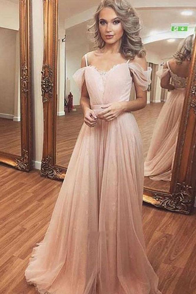 A Line Off the Shoulder Spaghetti Straps Pearl Pink Tulle Sweetheart Long Prom Dresses JS408