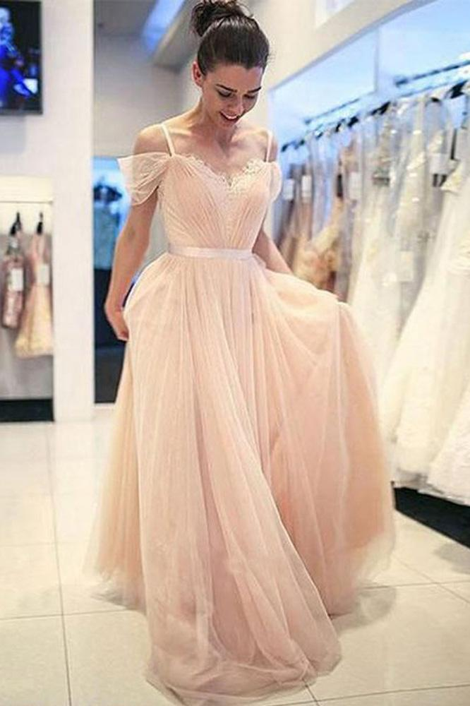A Line Off the Shoulder Spaghetti Straps Peal Pink Tulle Sweetheart Long Prom Dresses uk PW408