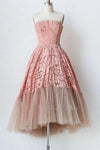 A Line Pink Lace Strapless Sleeveless Short Prom Dresses Tulle Homecoming Dresses P1076