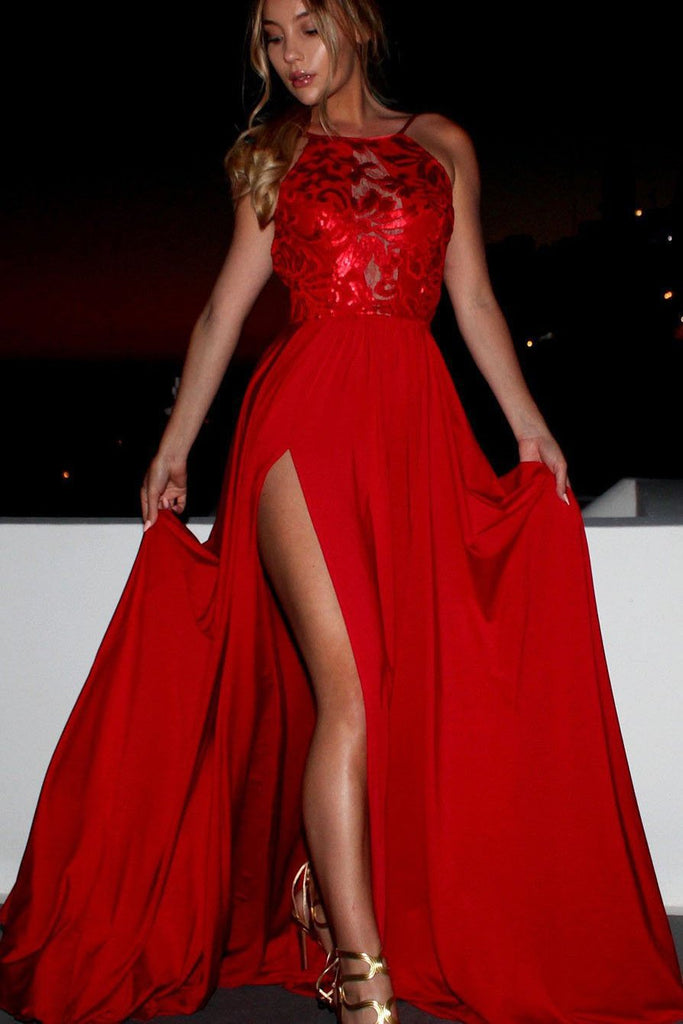 A Line Red Chiffon Halter High Slit Backless Lace Long Cheap Prom Dresses JS359