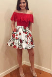 A Line Red Lace Off the Shoulder Floral Above Knee Homecoming Dresses with Pockets H1007