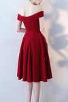 A Line Red Off the Shoulder Sweetheart Homecoming Dresses Short Prom Dresses JS600