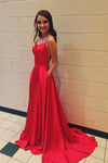 A Line Red Spaghetti Straps Open Back Prom Dresses With Slit Pockets