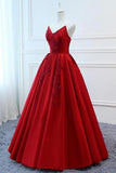 A Line Red Strapless Sweetheart Prom Dresses Satin Long Cheap Quinceanera Dresses JS605