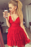 A Line Red V Neck Spaghetti Straps Homecoming Dresses with Lace Short Prom Dresses JS861