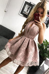 A Line Round Neck Pink Straps Homecoming Dress with Lace Appliques Short Prom Dress H1198