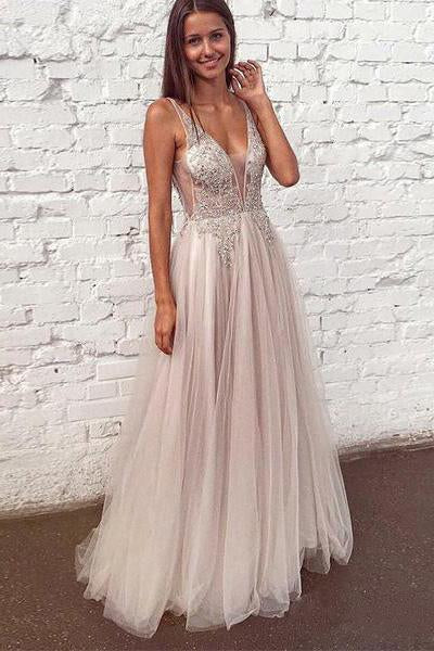 A Line See Through V Neck Long Prom Dresses Beaded Tulle Floor Length Formal Dress JS429