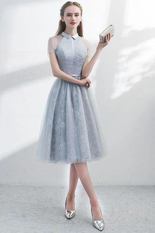A Line Short Sleeves Tulle Halter Homecoming Dress with Lace Cute Short Prom Dress H1284