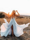A Line Sky Blue Rustic Chiffon Deep V Neck Slit Summer Beach Wedding Dresses JS863