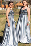 A Line Spaghetti Straps Backless Blue Prom Dress with Beading, Long Party Dresses PW398