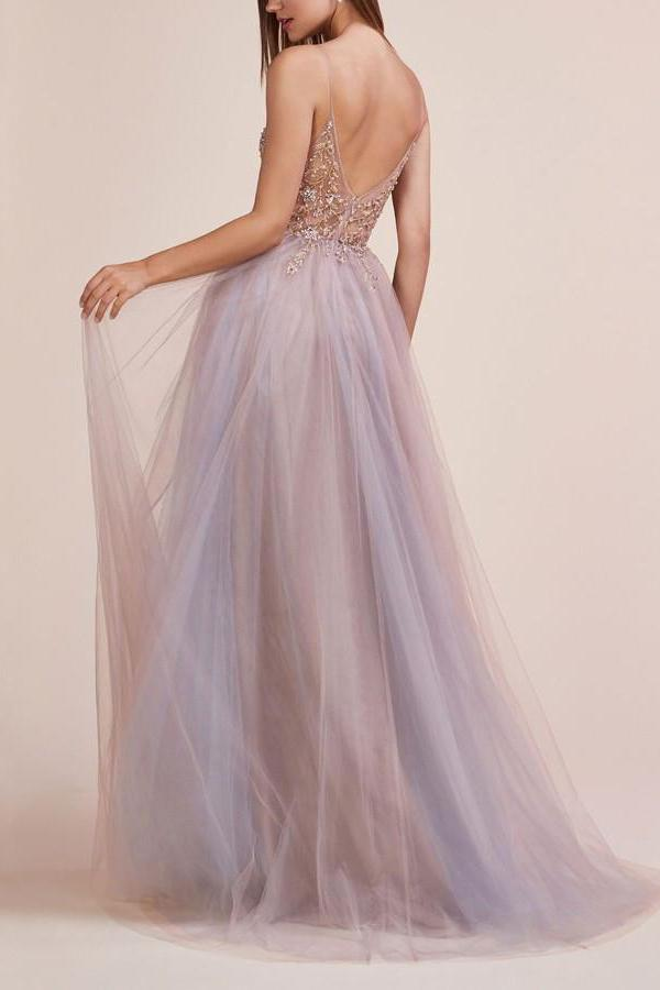 A Line Spaghetti Straps Deep V Neck Beads Tulle Prom Dresses with High Split Party Dress JS979