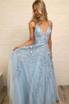 A Line Spaghetti Straps Blue Prom Dresses V Neck Lace Appliques Evening Dresses