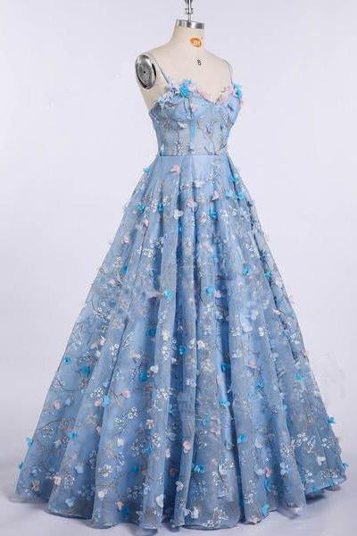 A Line Spaghetti Straps Sweetheart 3D Flower Applique Sky Blue Prom Dresses uk JS426