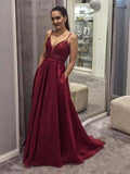 A Line Spaghetti Straps V Neck Burgundy Prom Dresses With Pockets Evening Dress JS467