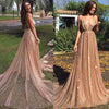 A Line Spaghetti Straps V Neck Gold Prom Dresses Long Backless Evening Dresses JS654