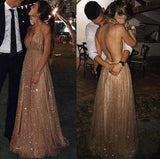 A Line Spaghetti Straps V Neck Bling Prom Dresses Backless Long Evening Dresses