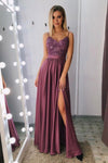 A Line Spaghetti Straps V Neck Purple Lace Side Slit Prom Dresses Party Dresses P1002