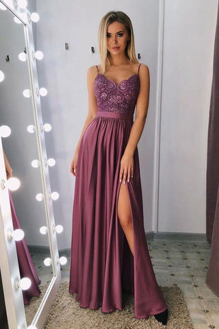 A Line Spaghetti Straps V Neck Purple Lace Side Slit Prom Dresses Party Dresses