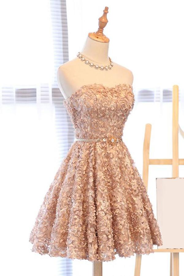 A Line Strapless Sweetheart Homecoming Dress with Appliques Beads Dance Dresses H1295
