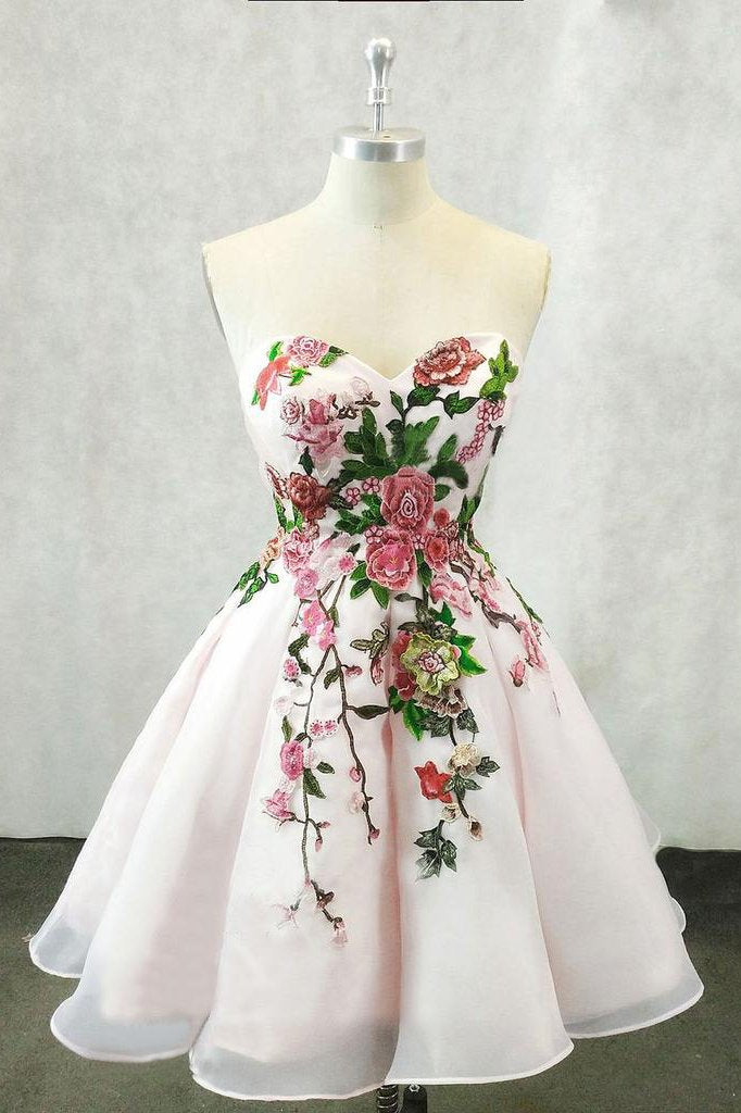 A Line Straps Sweetheart Pink Homecoming Dresses with Floral Print Short Prom Dress JS826