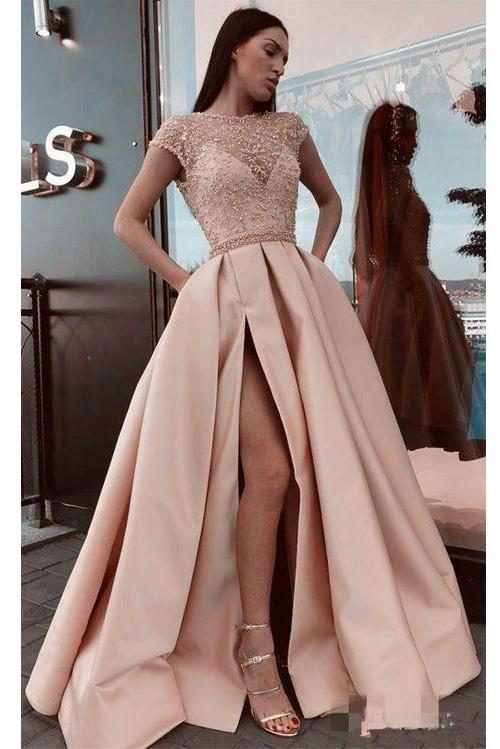A Line Stunning Satin Beads Cap Sleeves Prom Dresses with High Slit Pockets JS891