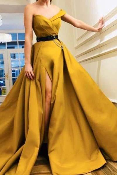 A Line Sweetheart High Slit Satin Ruffles Prom Dresses, Long Yellow Evening Dresses ul PW370