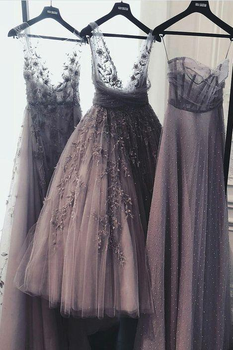 A Line Tulle Lace Appliques Purple V Neck Prom Dresses Cheap Evening Dresses JS975