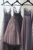 A Line Tulle Lace Appliques Purple V Neck Prom Dresses, Cheap Evening Dresses PW975