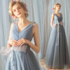 A Line Tulle V Neck Ruffles Prom Dresses Long Cheap Evening Dresses JS355