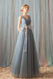 A Line Tulle V Neck Gray Ruffles Prom Dresses, Long Cheap Evening Dresses PW355