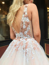 A Line Tulle V Neck Prom Dresses Beads Pink Lace Appliques Backless Evening Dresses JS533