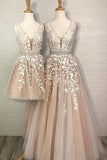 A Line Tulle V Neck Straps Lace Appliques Prom Dresses Long Party Dresses P1013
