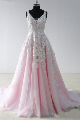 A Line V Neck Lace Appliques Pink Long Prom Dresses Backless Cheap Prom Dresses PW437