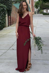 A Line V Neck Spaghetti Straps Burgundy Bridesmaid Dresses, Sweetheart Slit Prom Dress PW346