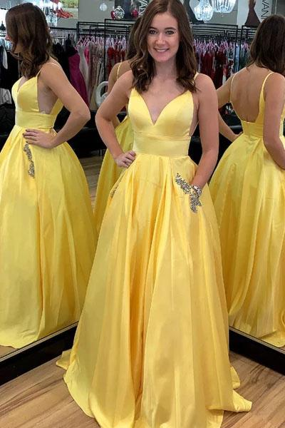 A Line Yellow Satin V-Neck Beading Pocket Prom Dresses Long Backless Party Dresses P1109
