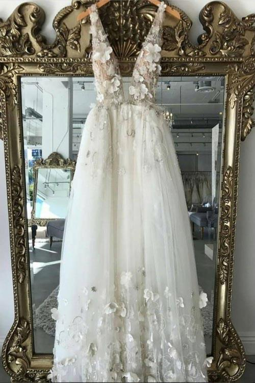 A line 3D Flowers Deep V Neck Ivory Straps Wedding Dresses Simple Boho Bridal Gowns