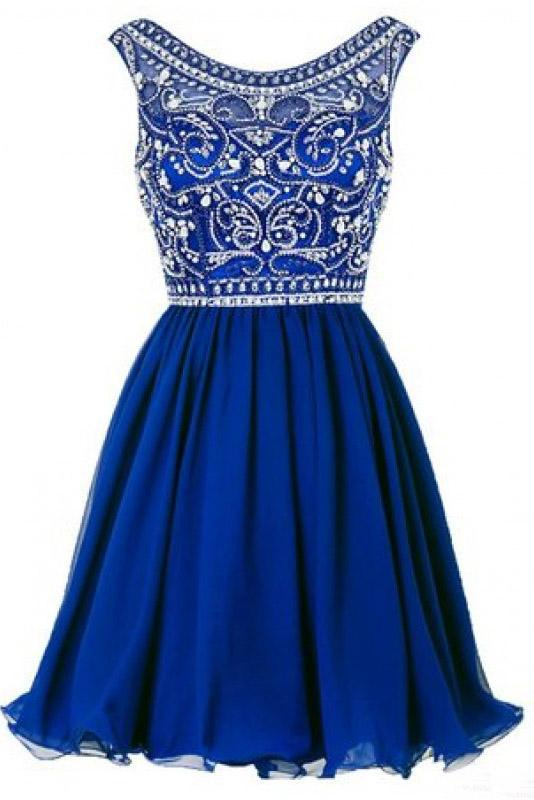 A line Blue Chiffon Scoop Homecoming Dresses with Beads Straps Prom Dresses JS802
