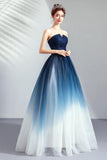 A line Blue Ombre Prom Dresses Lace up Sweetheart Strapless Formal Dresses JS339