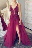 A line Burgundy V Neck Straps Tulle Prom Dresses Beads Lace Appliques Party Dresses JS700