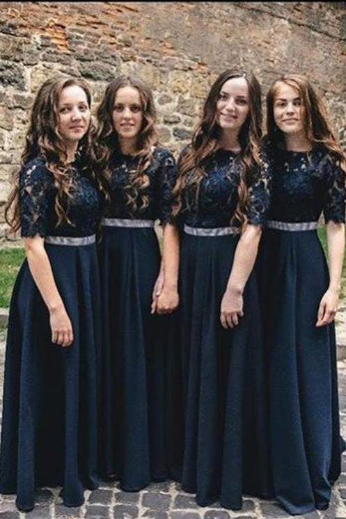 A line Dark Blue Half Sleeve Scoop Bridesmaid Dresses Chiffon Lace Prom Dresses PW543