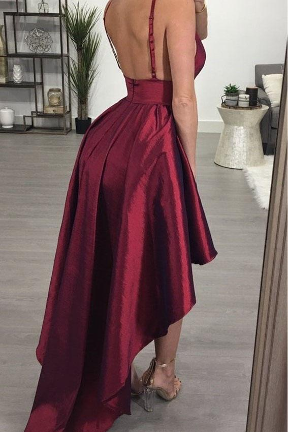 A line Deep V Neck High Low Spaghetti Straps Sleeveless Taffeta Prom Dresses JS358